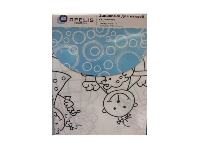 занавеска для ванной OFELIS Человечки 180х180 см, полиэстер