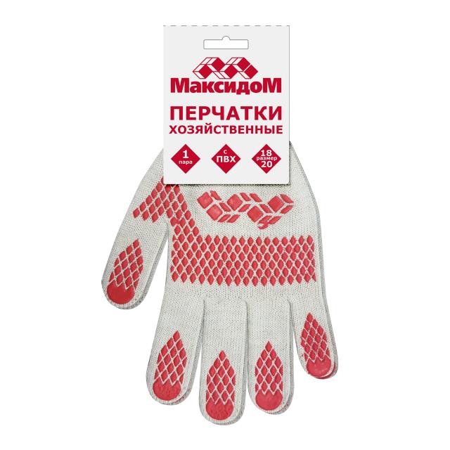 перчатки Максидом с ПВХ белые