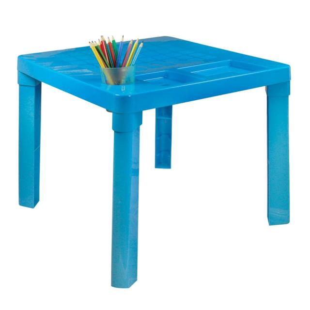 цена на стол пластиковый детский 51х51х47см голубой