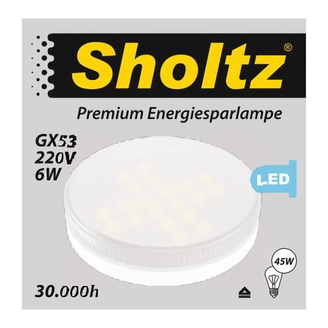 лампа светодиодная SHOLTZ 6Вт GX53 475лм 3000K 220В таблетка