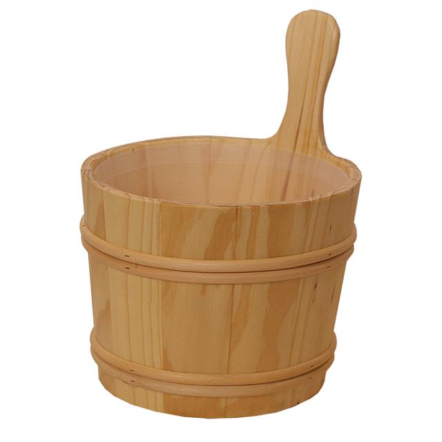 шайка для бани NIKKARIEN 7л сосна с пл. вставкой бани