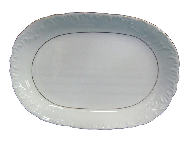 блюдо CMIELOW Рококо две отводки золотом овальн. 29х20см фарфор