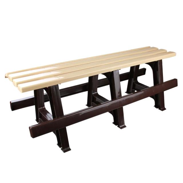 скамейка пластиковая 120х40х42см бежевый-коричневый цены онлайн