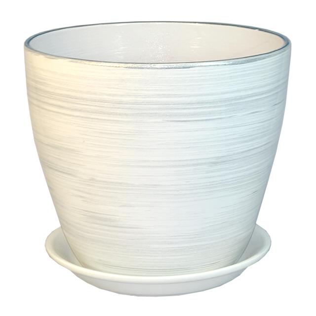горшок керамический Бутон, диаметр 21 см, 5,4 л, цвета белый, серебро горшок керамический бутон диаметр 21 см 5 4 л цвета черный серебро
