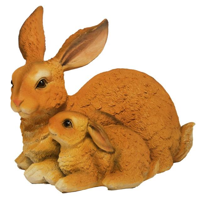 фигура садовая Зайчиха с зайчонком 30см