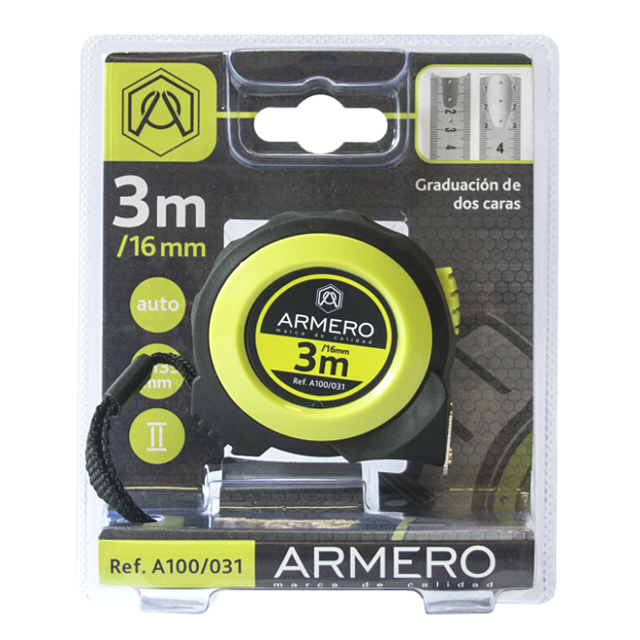 рулетка ARMERO 3мх16мм магнитная с автостопом рулетка armero лента фибергласовая 50 м