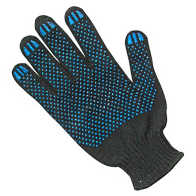 перчатки п/шерстяные с ПВХ нанесением Точка черные, 10 кл., 6 нитей, 10 р-р шерстяные перчатки