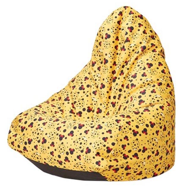 кресло-груша KIDS 700х700х1000мм желтый велюр принт ПЭ 100%