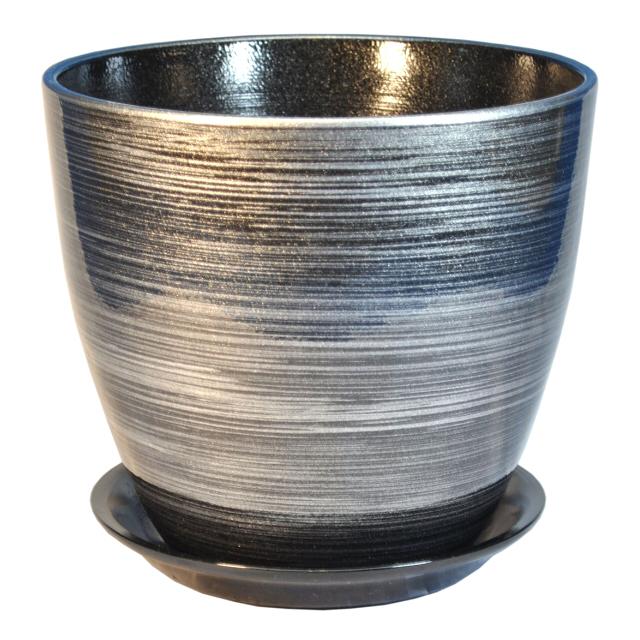 горшок керамический Бутон, диаметр 21 см, 5,4 л, цвета черный, серебро