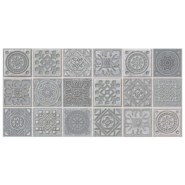 декор настенный 20,1х40,5 GRAZIA Grey Nefertiti мозаика, серый бордюр azori grazia grey nefertiti 6 2х40 5 см
