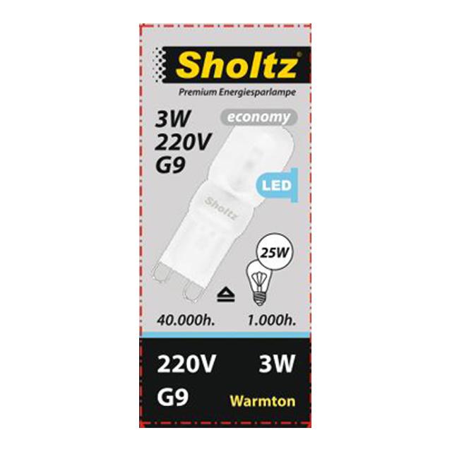 лампа светодиодная SHOLTZ 3Вт G9 375лм 3000K 220В капсула