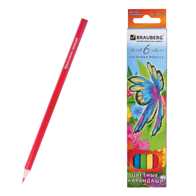 набор карандашей цветных Brauberg Wonderful butterfly 6цв заточенные набор толстых цветных карандашей disney софия 6 цветов