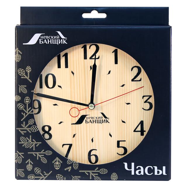 часы для предбанника 19 см дерево
