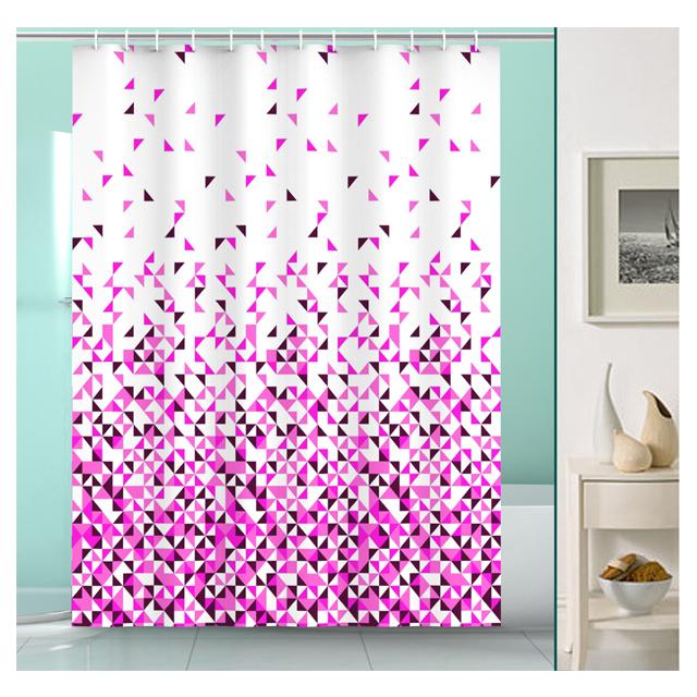занавеска для ванной OFELIS Мозаика 200х180 см, полиэстер, розовая