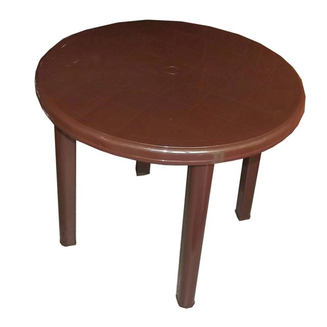 стол пластиковый круглый 90х90х71см шоколад