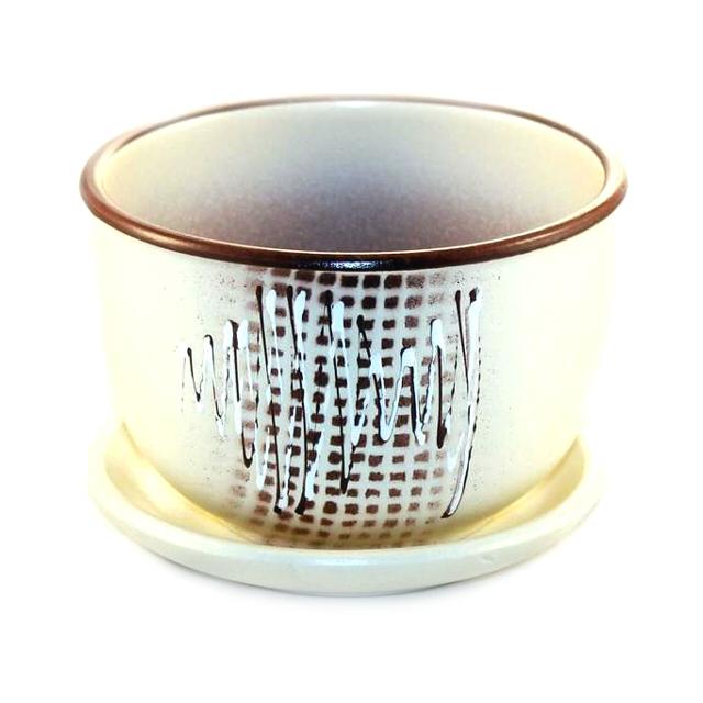 горшок керамический с поддоном Волны, 0.5 л, бежевый