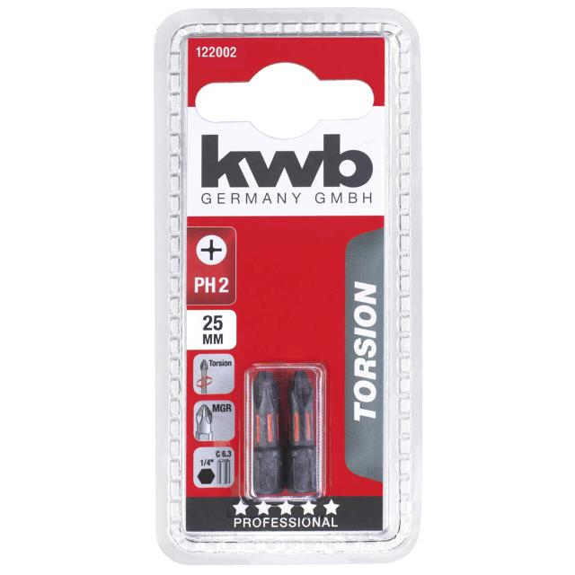 бита KWB PH2 25мм torsion 2шт