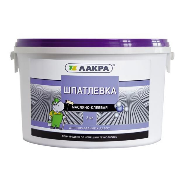шпатлевка готовая ЛАКРА масляно-клеевая 3кг, арт.ШМК3