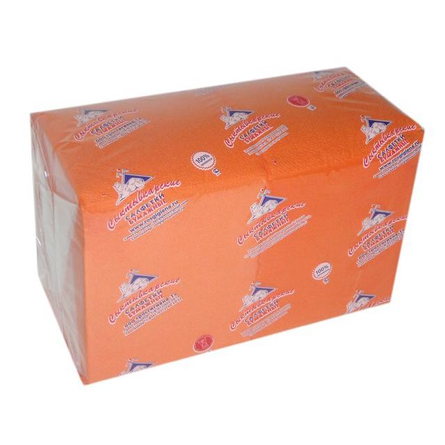 салфетки Оранжевые 1-слойные 24х24см 400шт