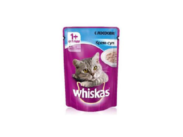 корм для кошек Вискас крем-суп с лососем 85г whiskas корм для кошек вискас желе с лососем конс 85г