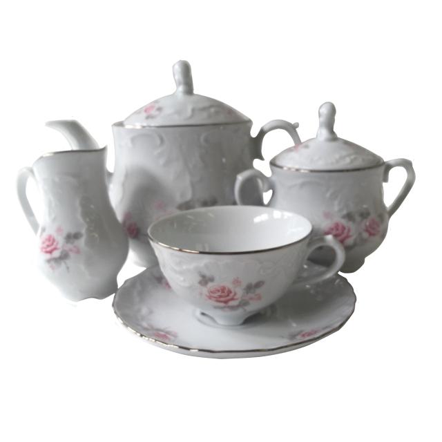 сервиз чайный Рококо Бледная роза отводка платиной 6/15 фарфор недорого