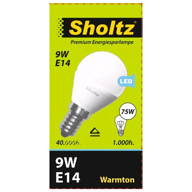 лампа светодиодная SHOLTZ 9Вт E14 700лм 2700K 220В шар