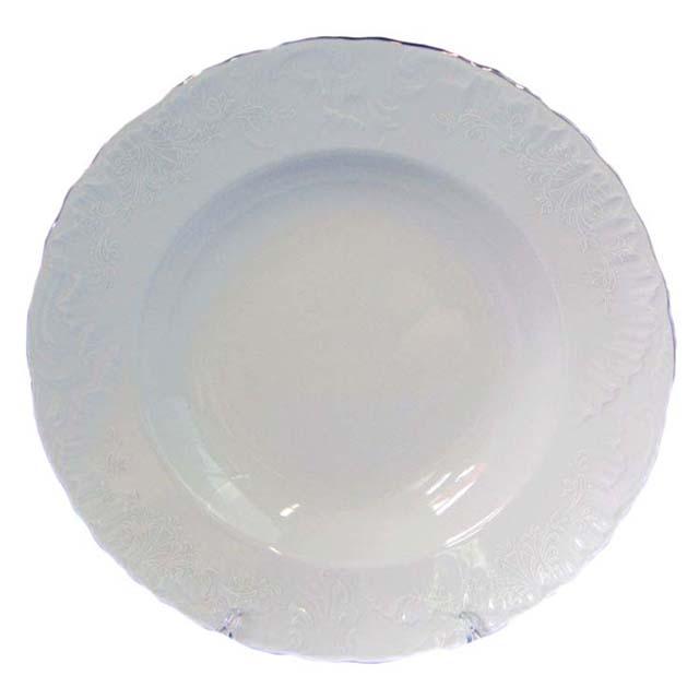 тарелка глубокая Рококо Платина, 22,5см, фарфор тарелка рококо платина 25см обеден фарфор
