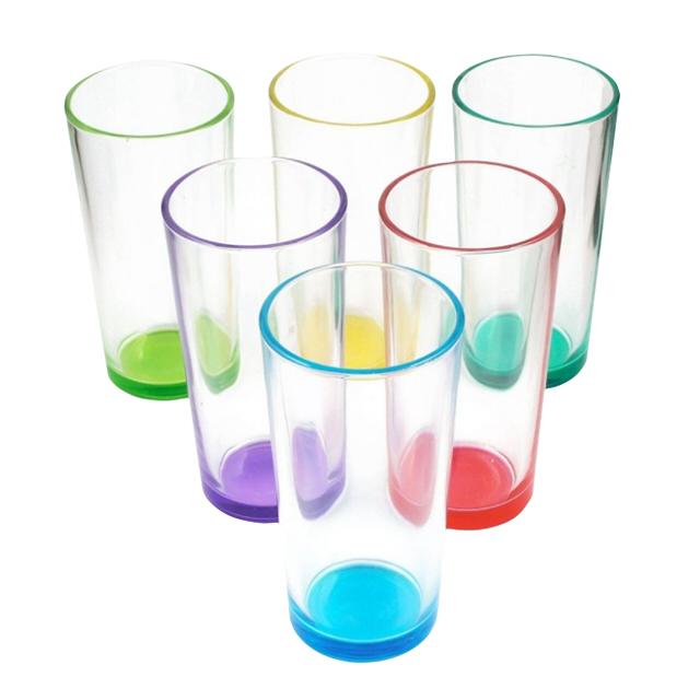 набор стаканов 6 шт 230 мл стекло цветное дно