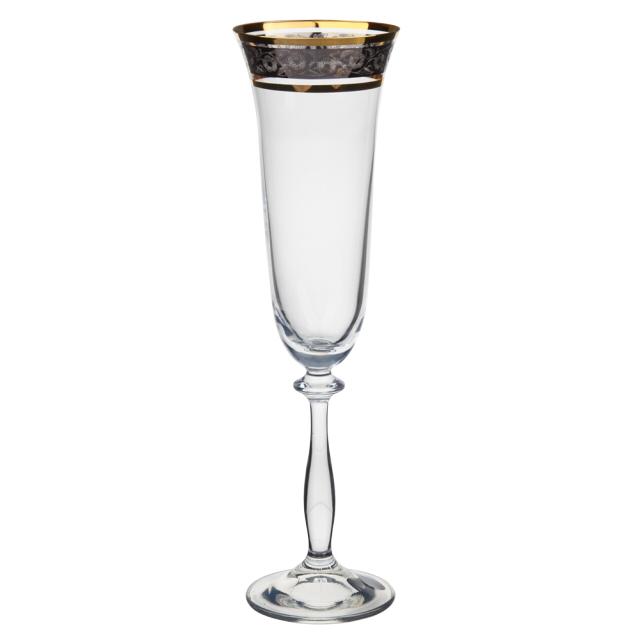 набор бокалов CRYSTALEX Ангела панто платина золото 6шт 190мл шампанское стекло