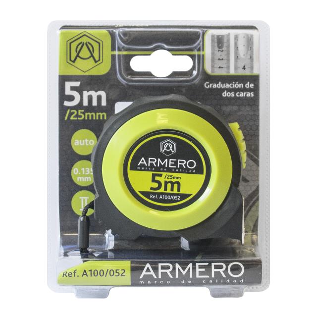 рулетка ARMERO 5мх25мм магнитная с автостопом рулетка armero лента фибергласовая 50 м