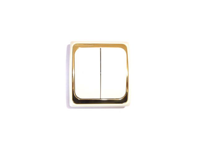 выключатель 2-клавишный DUEWI Дельта бежевый/золото
