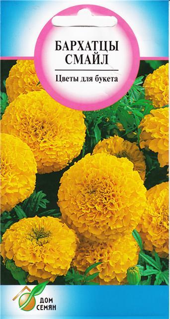 семена бархатцы (тагетес прямостоячий) смайл 70шт английские премиум семена бархатцы африканские киз оранж johnsons