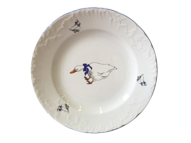 тарелка обеденная Рококо Гуси 25см, фарфор тарелка рококо платина 25см обеден фарфор