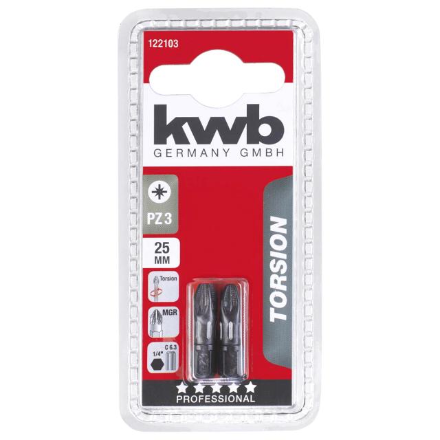 бита KWB PZ3 25мм torsion 2шт бита kwb pz2 25мм д гипсокартона 2шт