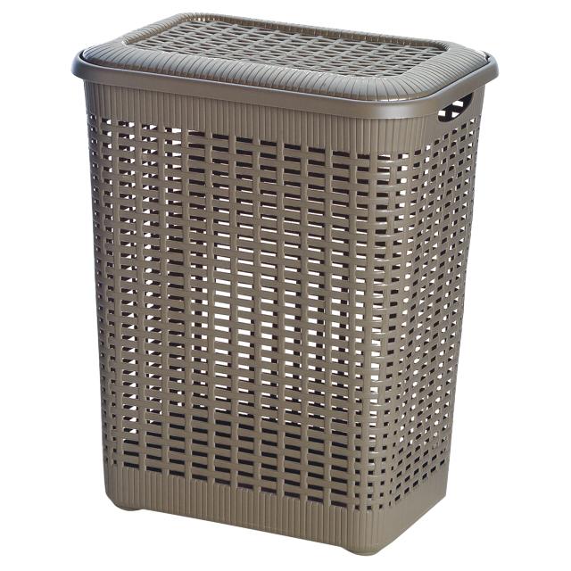контейнер gensini хозяйственный 27х19 4х11 6 см 5 л для бытовых нужд пластик в ассортименте без крышки корзина GENSINI Rattan, 43x32x55 см, 50 л, для бытовых нужд, пластик, с крышкой, коричневый