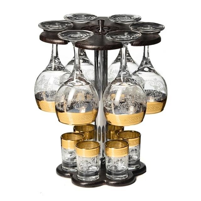минибар для вина и водки Гармония, 12 предметов, стекло с декором