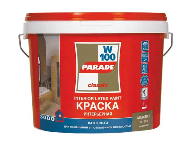 краска латекс. PARADE W-100 база А 5л Бел. мат., арт.W100A-5 цена 2017