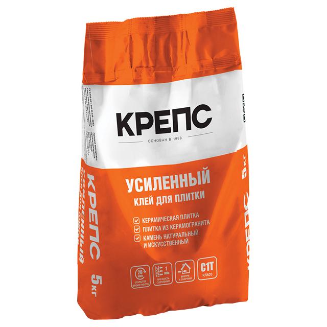 клей для кафельной плитки, керамогранита Крепс усиленный 5кг