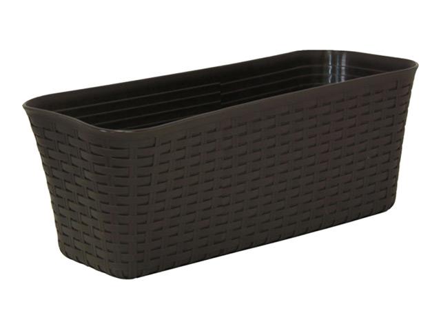 ящик балконный с дренажным вкладышем Ротанг, 40 см, цвет: коричневый
