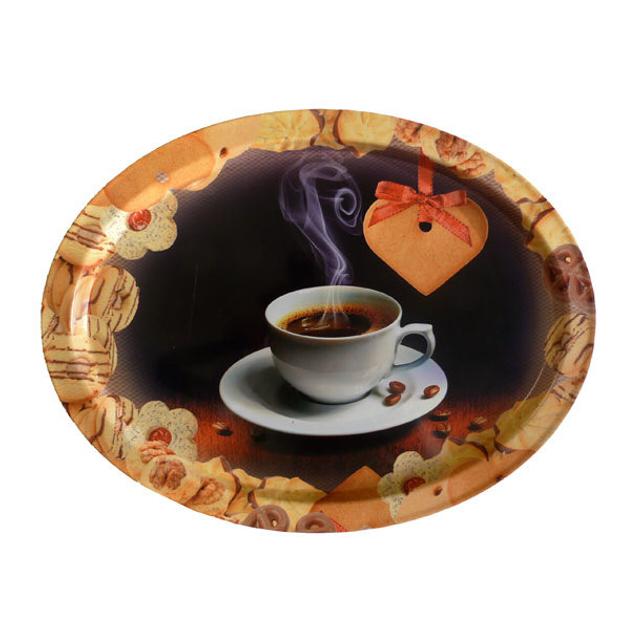 поднос Чашка кофе/ Кофейный набор овал. 37х28см металл/пищевая жесть в ассорт. аргента набор кофейный черный кофе встреча 3 предмета футляр