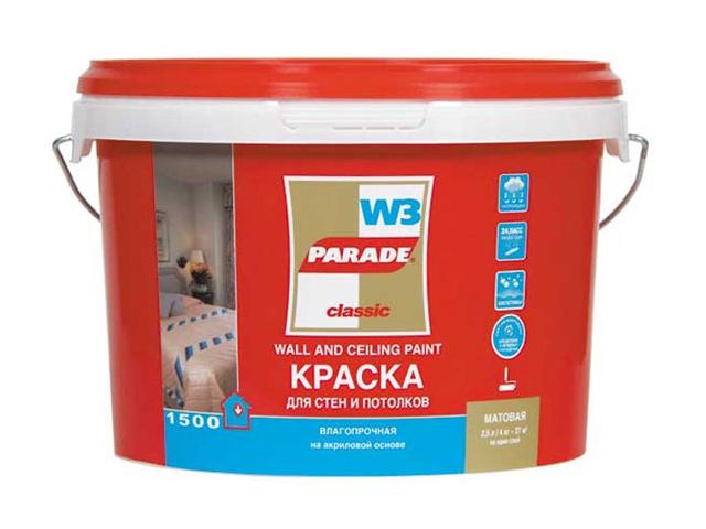 краска вододисп. PARADE W-3 10л Бел. мат. чаша горошек 2 л бел син 1150426