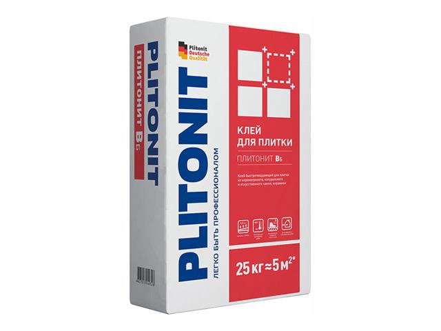 клей для кафельной плитки ПЛИТОНИТ -В6 быстротвердеющий 25кг, арт.Плитонит Вб-25