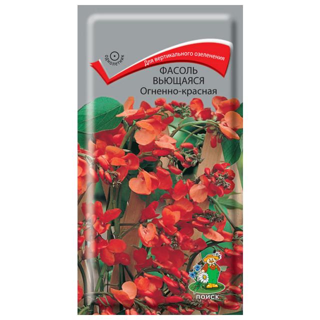 семена фасоли вьющаецся огненно-красная 5шт