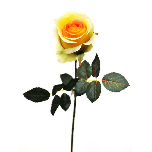 растение искусственное Роза желтая 70см растение искусственное роза ветка 70см