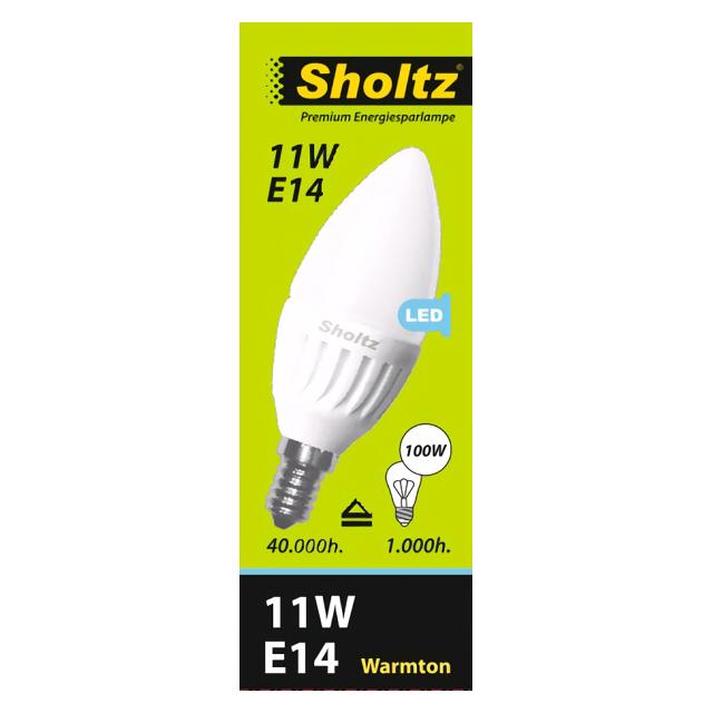 лампа светодиодная SHOLTZ 11Вт E14 828лм 2700K 220В свеча