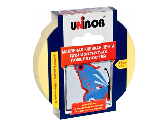 лента малярная профессиональная UNIBOB 19ммх25м д/изогнутых поверхностей, арт.51469 лента малярная unibob 50 мм х 50 м