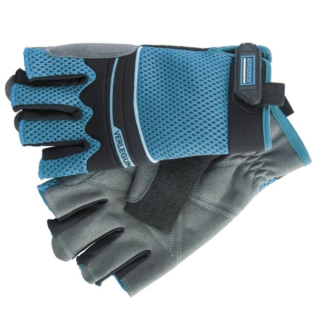 перчатки рабочие комбинированные облегченные открытые пальцы L размер
