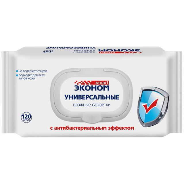 салфетки влажные SMART Эконом Универсальные антибактериальные с клапаном 120шт