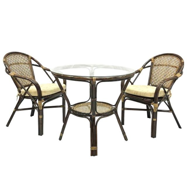 комплект мебели ELLENA стол, 2 кресла браун ротанг ecogarden стол обеденный ellena