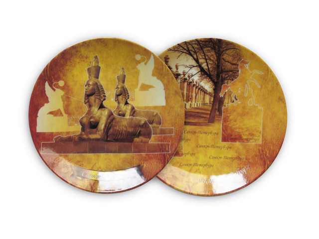 тарелка настенная Санкт-Петербург золотой 16см, керамика